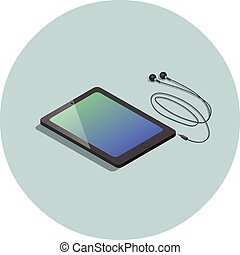 vector, isométrico, negro, tableta, con, auriculares, 3d, plano, diseño, dispositivo