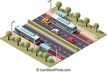 vector, isométrico, parada de autobús