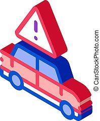 vector, isométrico, peligro, icono, coche, ilustración, obstrucción