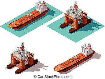 vector, isométrico, petrolero, y, plataforma petrolera