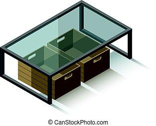 vector, isométrico, tabla de café de cristal, con, revistas, caja