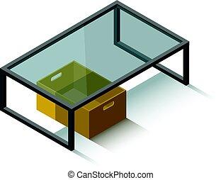 vector, isométrico, tabla de café de cristal