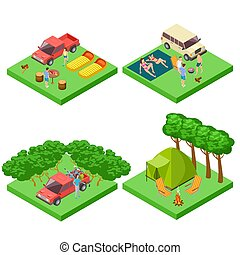 Vector isometric 3d camping location of set