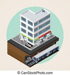 vector isometric 3d illustration of city street, building and me