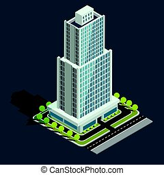 Vector isometric 3D illustration of modern urban building