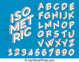 Vector Isometric Alphabet And Numbers Funky 3d Font