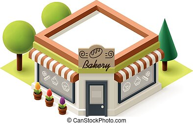 Vector isometric bakery shop building icon