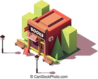Vector isometric bookshop with signboard and awning