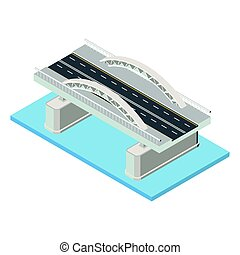 Vector isometric bridge icon. - Vector isometric bridge....