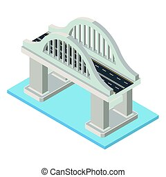 Vector isometric bridge. Transport infrastructure 3d element representing low poly structure for city map creation.