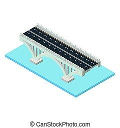 Vector isometric bridge icon.