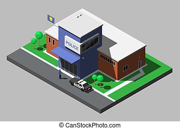 Vector isometric building of police department with...