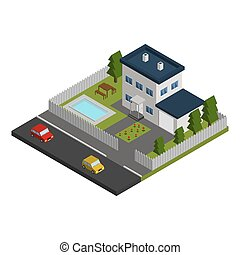 Vector isometric building.