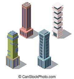 Vector isometric buildings, cartoon skyscrapers set