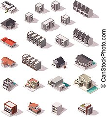 Vector isometric buildings set - Isometric icon set ...