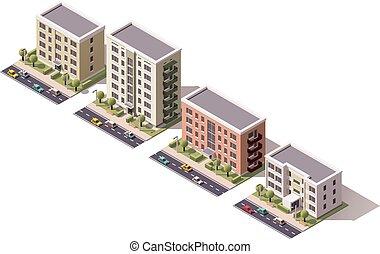 Vector isometric buildings set