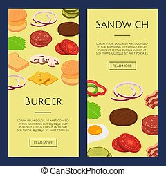 Vector isometric burger ingredients web banner templates illustration
