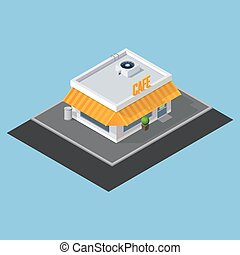 vector isometric cafe building