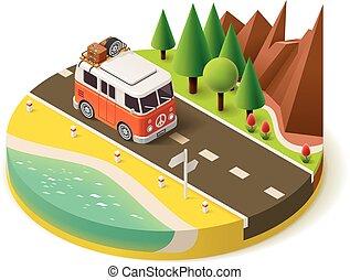 Isometric camper van on the road