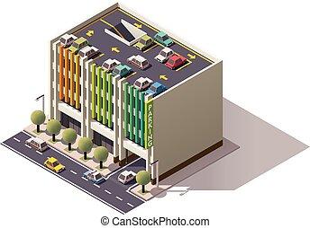 Vector isometric car park - Isometric icon representing...