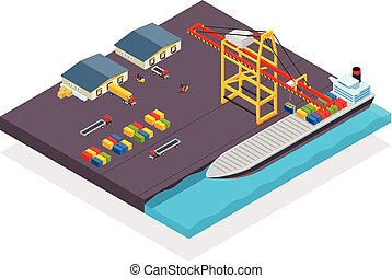 Vector isometric cargo container ship and crane concept with loading containers. Cargo terminal with container ship loading.