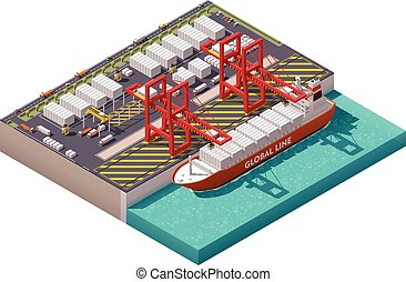 Vector isometric cargo port - Isometric cargo port with ...