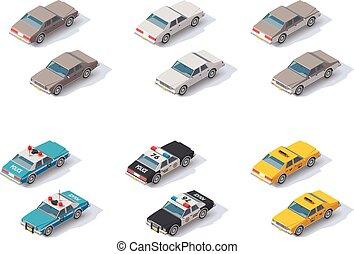 Vector isometric cars set