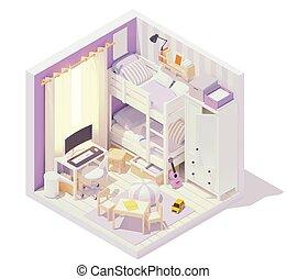 Vector isometric children's room