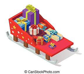 Vector isometric Christmas sleigh - Vector isometric low...