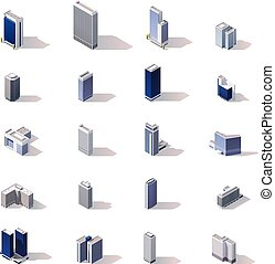 Vector isometric city buildings icon set - Isometric low...