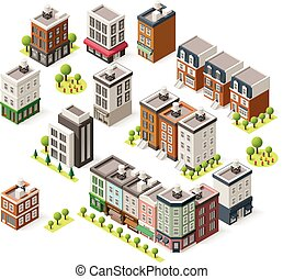 Vector isometric city buildings set