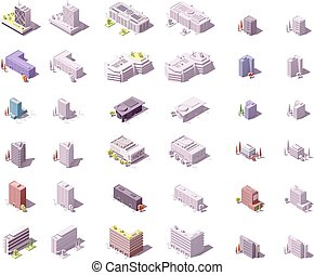 Vector isometric city buildings set