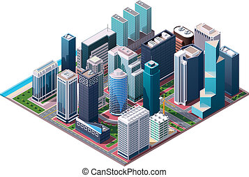 Isometric set of the office and residential buildings, road elements and plants