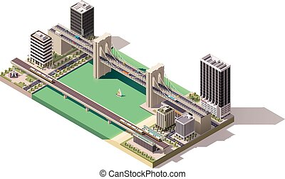 Vector isometric city map - Isometric city map with river...