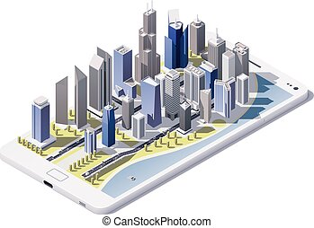 Vector isometric city on the smartp - Isometric low poly...