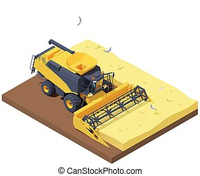 Vector isometric combine harvester in wheat field