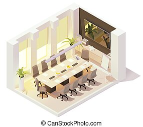 Vector isometric conference room - Vector isometric office ...