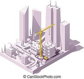 Vector isometric construction site