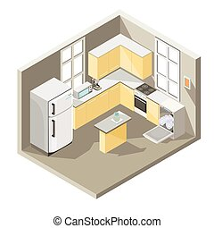 Vector isometric design of a kitchen