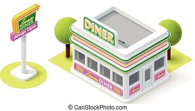 Vector isometric diner