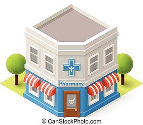 Vector isometric pharmacy building icon