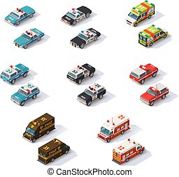 Vector isometric emergency services cars set - Set of the ...