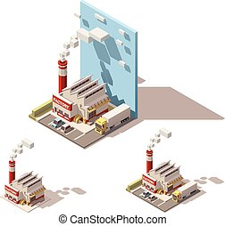 Vector isometric factory building with smoking pipe icon