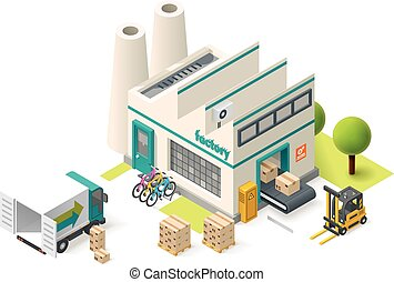 Vector isometric factory building icon