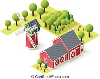 Vector isometric farm set - Isometric icons representing...