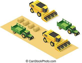 Vector isometric farm vehicles set