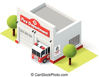 Vector isometric fire department - Vector isometric fire...