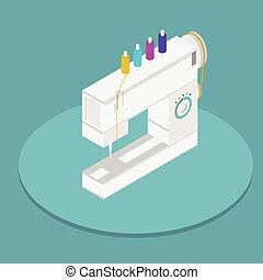 Vector isometric flat illustration of sewing machine -...