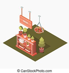 Vector isometric flower shop.