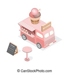 Vector isometric food trucks.